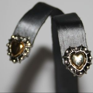 Stunning silver and gold heart earrings